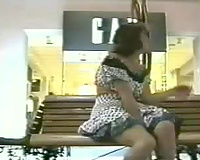 Horny brunette hair slutwife flashing her pants and love tunnel in public