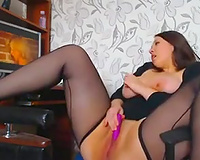 Damn hawt and pretty cam dark brown mother I'd like to fuck in nylons fingered herself