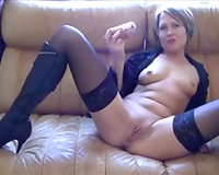 Pale bitch in dark nylon nylons masturbated with fake penis for me