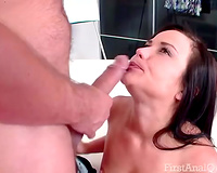 Lovely brunette hair blows and acquires her bootyhole slammed