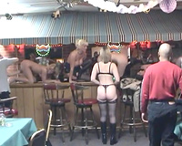 Hardcore lesbo fuckfest at the bar counter with bunch of lascivious MILFs