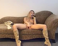 Leggy golden-haired haired Dutch sweetheart enjoys masturbating on ottoman for my buddy