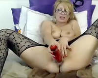 Mature foureyed bitch goddess masturbating with 2 sex toys to tease me
