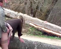 Cheap bootylicious pale blondee Euro wench receives nailed doggy outdoors