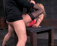 Blonde BDSM slut DeGrey tied and gangbanged in each aperture
