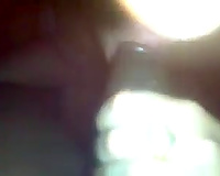 Chick with flushing cheeks greedily works on my meaty dark knob