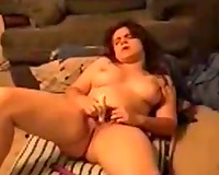 Amazing dark brown mother I'd like to fuck with natural knockers was petting herself with toy