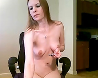 Zealous light haired nasty and lewd hottie rubbed her hairless pussy