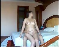My bosomy dark brown white bitch rides my jock in homemade sex tape