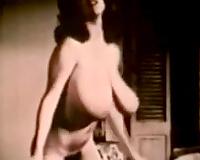 Magnificent vintage sweetheart demonstrates her mind blowing milk sacks