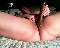 My chubby cheating wife pleases herself with fingering and toying indoors