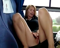 Blonde hawt milf playgirl masturbated in the bus full of people