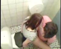 Brunette non-professional college girl bonks in the petite latrine room