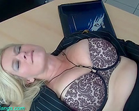 Busty and majestic German milf strips and begins engulfing rods