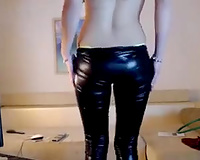 Hot like hell beautiful blond playgirl in latex panties positions in her high heels