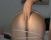 My Italian white bitch is fastened and bent over for doggy style anale sex