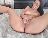 Dildo addicted nerdy brunette hair hottie with large scones was using a fake penis
