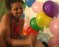 Cute ebon GF jerks me off and sucks my rod on her birthday party