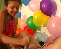 Cute ebon GF jerks me off and sucks my rod on her birthday party