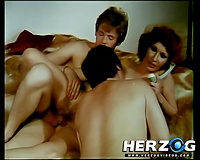 Three sexually excited couples have vehement group sex in retro movie