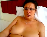 Emotionless non-professional dark brown slutwife of my buddy used huge fake penis for solo