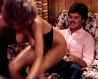 Vintage style swinger party with 2 sexy women and 2 large fellows