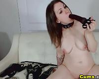 Curvy Brunette Big Dildo Deepthroat Sucking