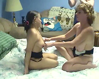 Sweet diminutive lesbian legal age teenager can't live without licking her breasty older gf's soaked pussy