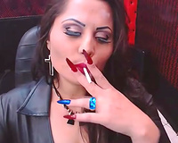 Amateur Indian mother I'd like to fuck smoking a cigarette webcamming with me