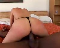 Big assed white whore sucks sloppy BBC after hard doggy fuck