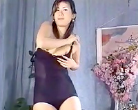Pale cute Asian nympho was flashing off her fine pointer sisters
