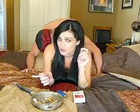Drilling my hawt brunette hair cheating wife from behind on webcam