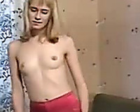 Blonde honey Nastya exposes her bawdy cleft and pisses right on the bed