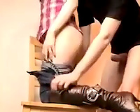 Kinky non-professional bitch in high boots was drilled doggy style quite tough