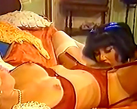 Wicked exotic lustful skank with blond milf on the daybed