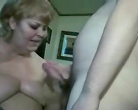 Nasty aged big beautiful woman white wife Bringet receives massive facial after orall-service