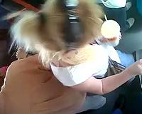 Just a cute random blond slutty wife on the bus filmed on voyeur vid