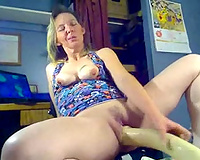 Wild golden-haired haired housewife used a indeed massive sex-toy for masturbation