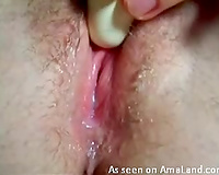 Really taut and lewd cunt cums after sextoy masturbation