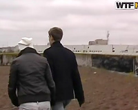 Amateur Russian pair having a walk outdoors on cold day