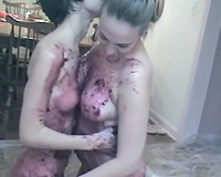 Dirty enjoyment of 2 lascivious seductive lesbians on the kitchen