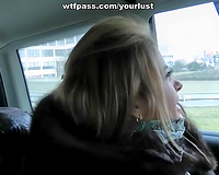 Mind blowing golden-haired hottie pleases a gracious dude with camera in his hands
