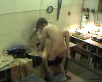 Dude banging his hot and youthful colleague in the kitchen