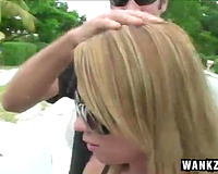 Unbelievable attractive blond girl gives a car fellatio