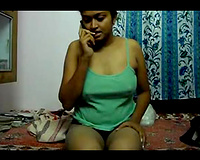 Slender dilettante Desi raven haired whore just can't live without fingering her juicy muff