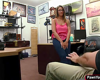 Busty sweetheart ends up getting screwed in the pawnshop