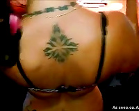Naughty inked dark brown escort dirty slut wife bows over for black customer