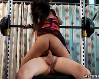Restless black skin sweetie in the gym blowing shlong and riding