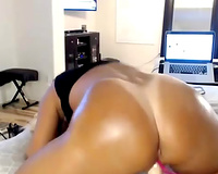 This dark babe has that killer booty your girlfriend fantasies about
