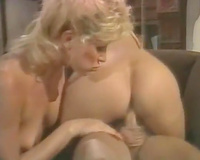 Ginger whore and golden-haired cutie engulf and ride powerful dong